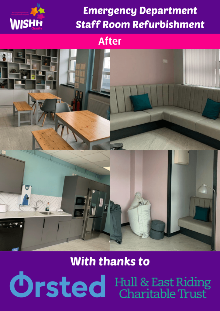 Images showing the completed staff room with refreshed decor and new furniture with thanks to Orsted and the Hull and East Riding Charitable Trust