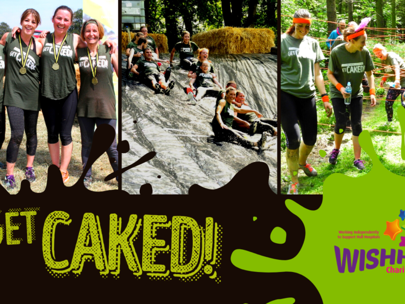 People taking part in the Get Caked Event sliding down a mud slide, posing with medals and taking on the assault course