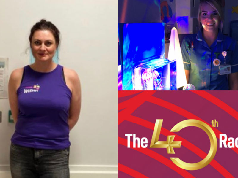 Suzy in a WISHH running vest, a nurse with sensory equipment and the London Marathon logo