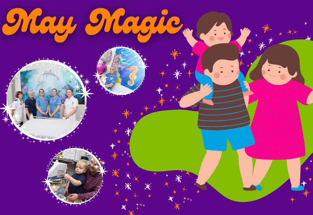 May Magic featuring images of children and a family walking