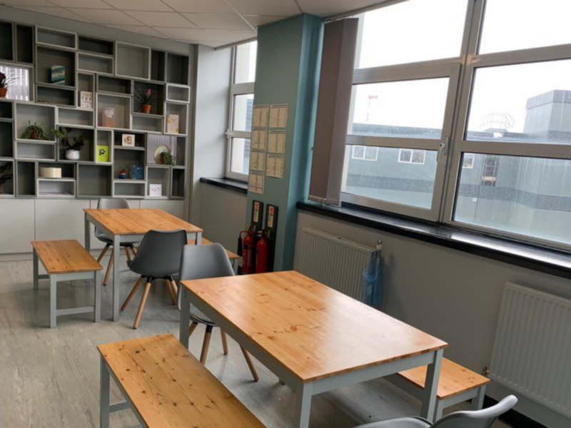 Tables and chairs in the refurbished ED staff room