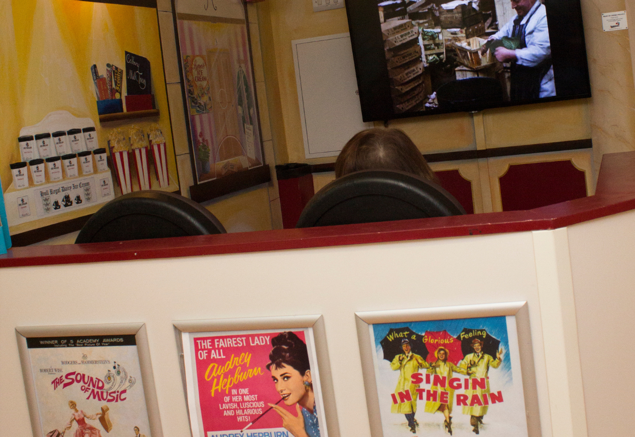 An patient watches films in the Ward 80 cinema