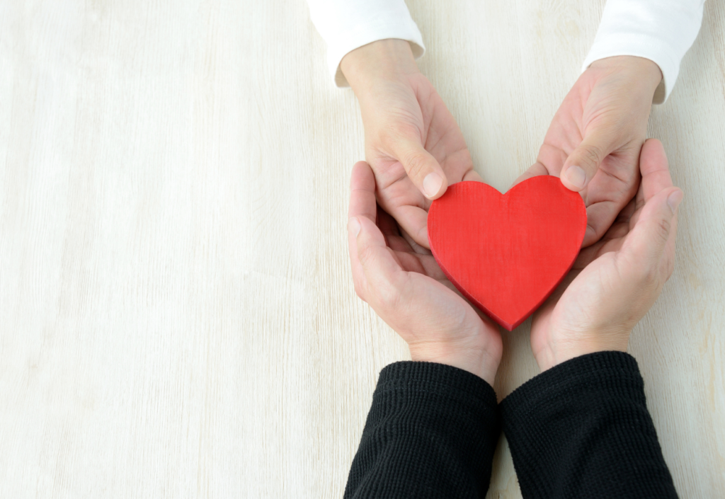 Hands hold a love heart