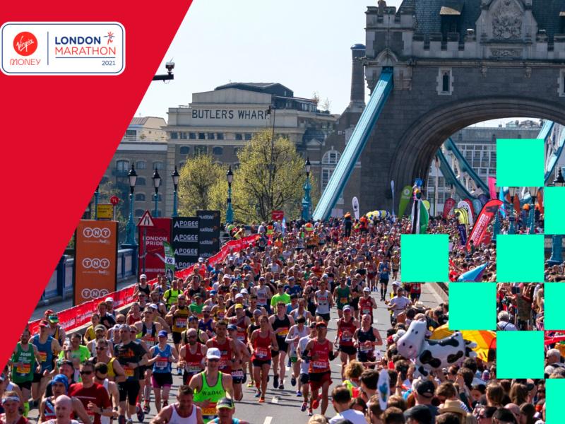 Runners take part in the Virtual London Marathon