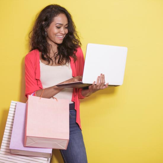 A lady shops online